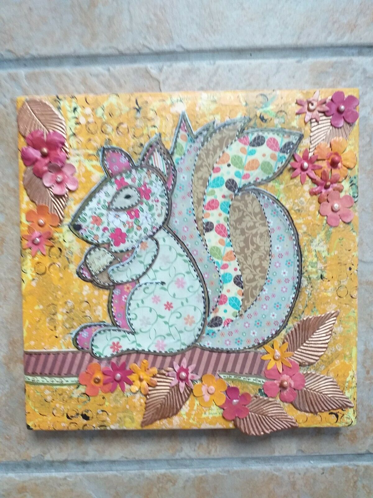 Squirrel Picture Mixed Mediums Paint Paper Etc Brand New