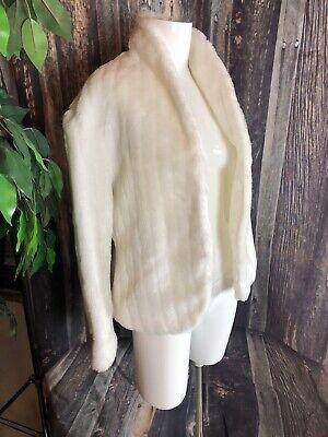 VINTAGE Simple White FAUX FUR COAT WOMENS SIZE S Womens Faux Fur Coats