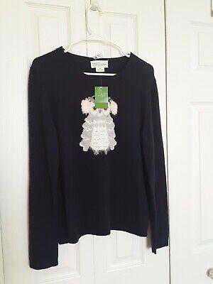 Kate Spade NWT Owl Sweater Navy Blue Wool Blend Sz. Small $49 Long Slv Crew Neck