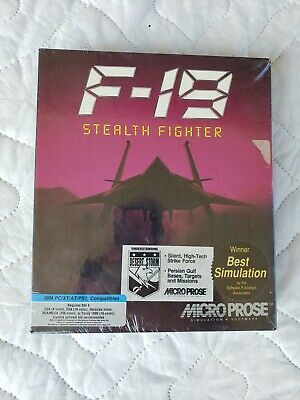 RARE Vintage Microprose F-19 STEALTH FIGHTER Simulation IBM PC (1988), used for sale  Ekron