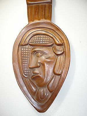 Honduras hand carved plaque / Mayan  Wall hanging wood  art   spoon shaped