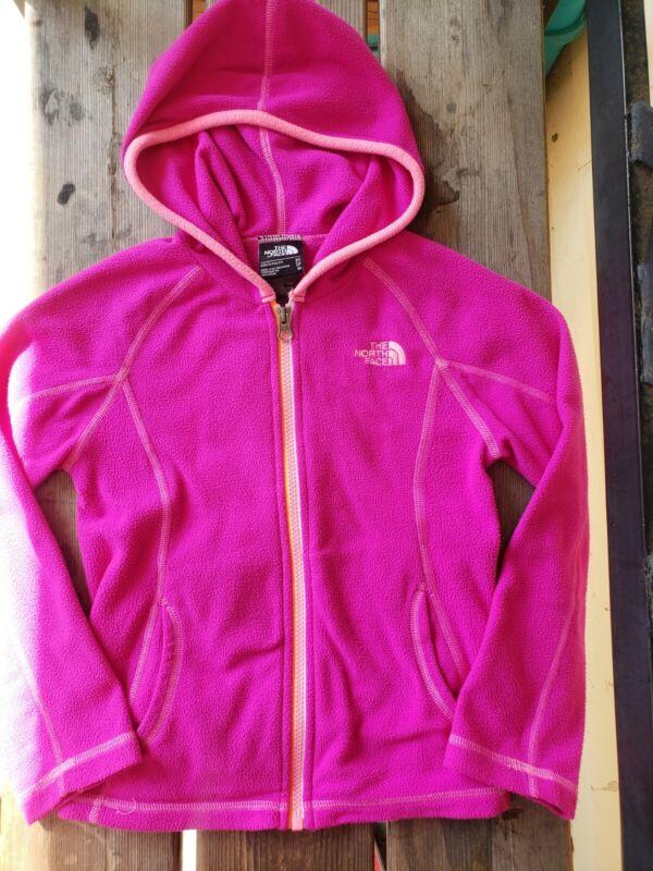 THE NORTH FACE girls SZ XS (6) PINK peach lightweight fleece zip jacket hooded