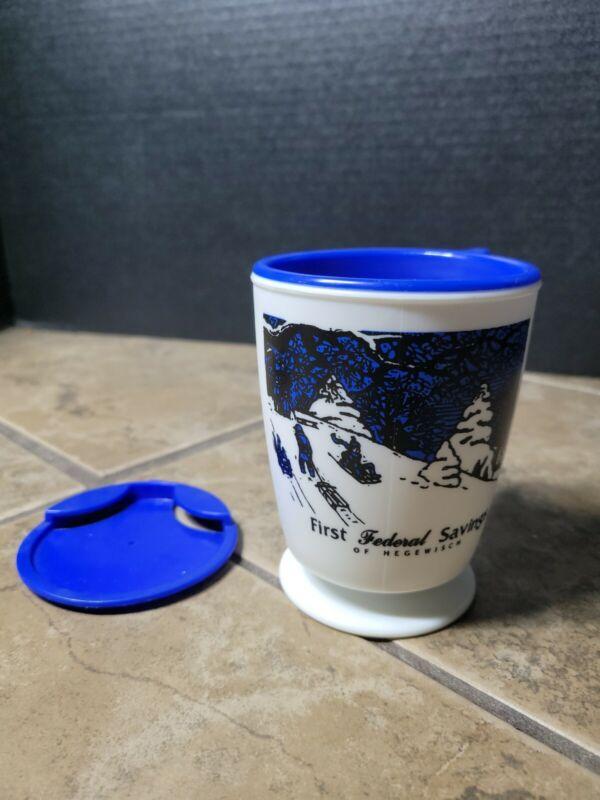 VTG 1st Federal Savings Of Hegewisch Plastic Coffee Cup Mug W/ Coaster & Lid