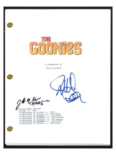 Director Richard Donner & Jeff Cohen Chunk Signed THE GOONIES Movie Script COA