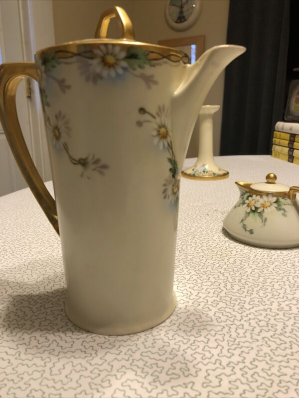"Vtg Antique Chocolate Pitcher 7"" Hand Painted ""Daisy"" Pattern Excellent Gilt"