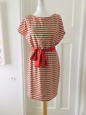 Jessica Howard Striped Dress Size 10 Red Mini Short Sleeved