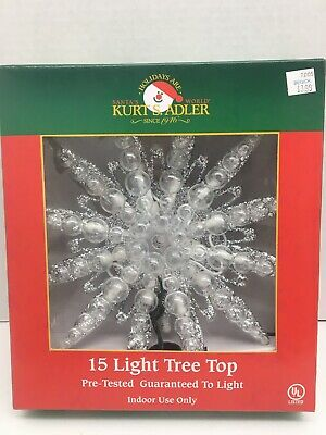 Layered Clear and Silver Glitter Star Light Up Christmas Tree Topper 15 lights