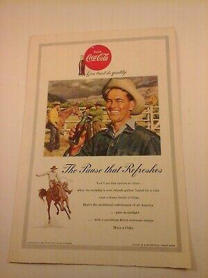 Vtg 1953 COKE Coca-Cola Soda Pop Print Ad - COWBOY ENJOYING A COKE