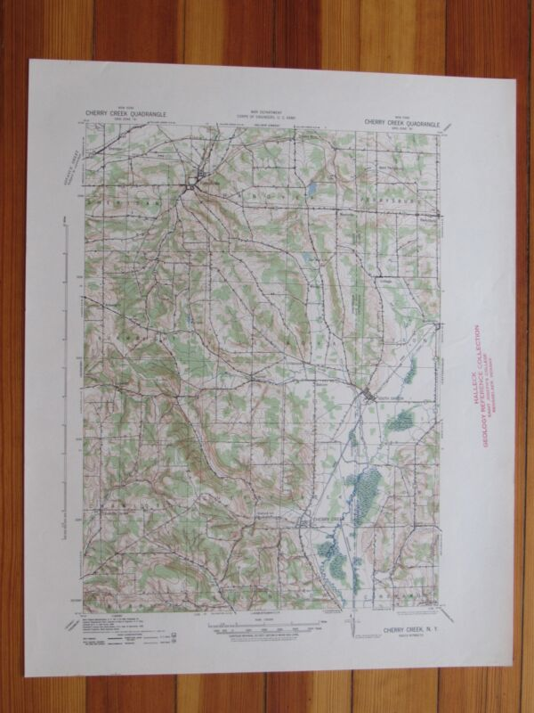 Cherry Creek New York 1941 Original Vintage USGS Topo Map