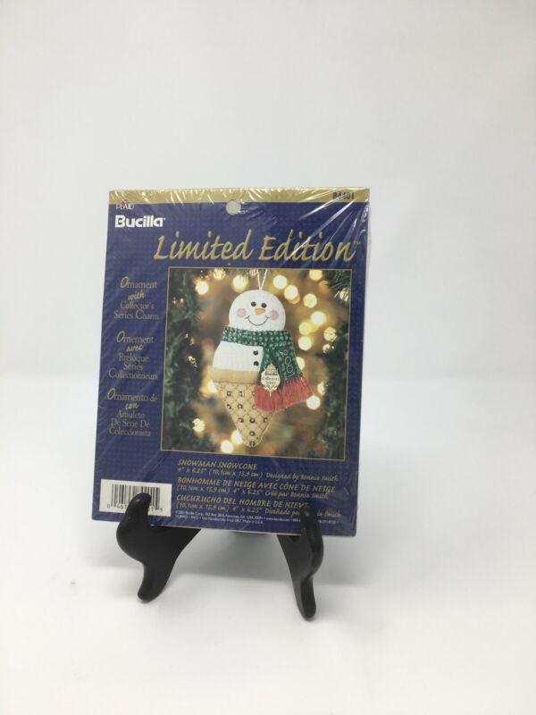Bucilla Limited Edition Ornament Snowman Icecream Cone