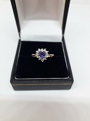 Vintage 9ct Gold Amethyst & CZ Ring - Size M 1/2