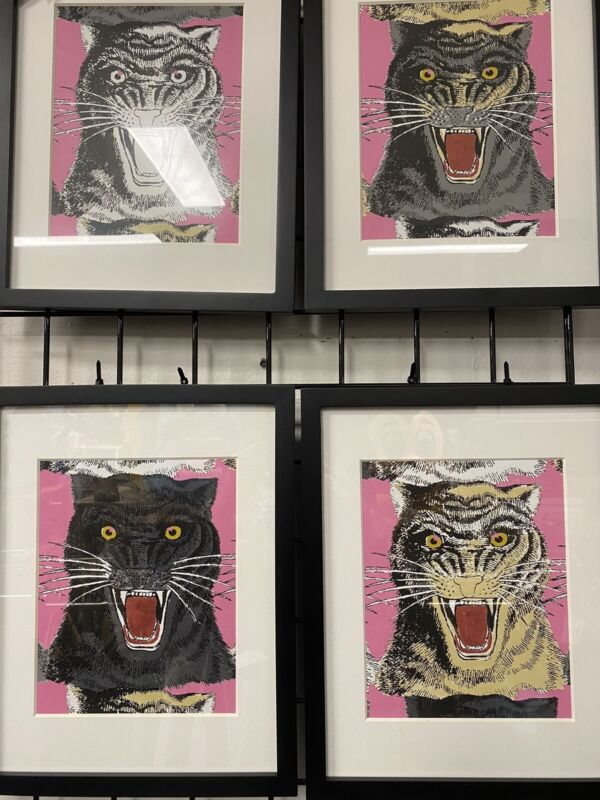 Gucci Pink Cat Panther Angry Tiger Wallpaper Framed Prints
