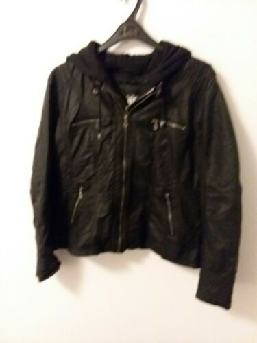 Lock and Love Women's Removable Hooded Faux Leather Moto Bik
