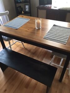 Refurbished dining table and benches
