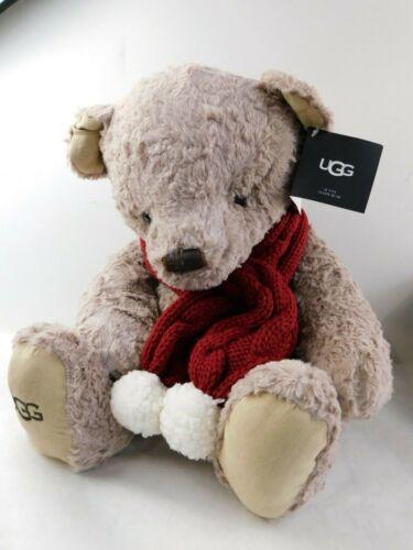 "Ugg 16"" Plush Sunny Teddy Bear Oatmeal Stuffed Animal Toy Red Scarf *"