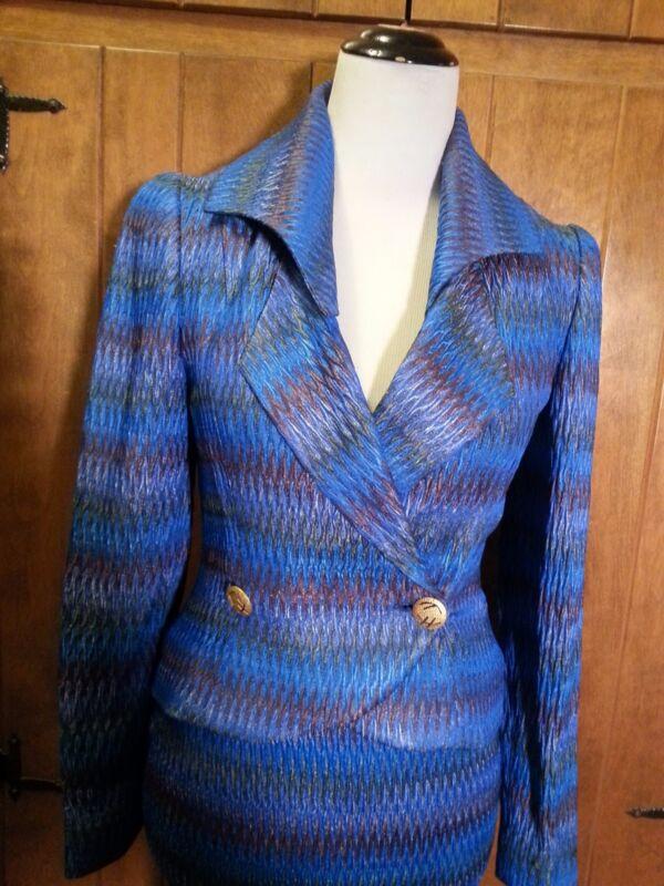 JIMMY GAMBA Stunning Blue w/ Slight Shimmer Skirt Suit  Size Small  **MINT**