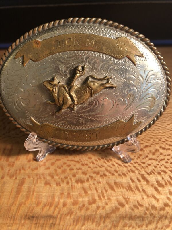"""Vintage """"Rick M. Drost"""" Mexico Banner Rodeo Award Belt Buckle"""