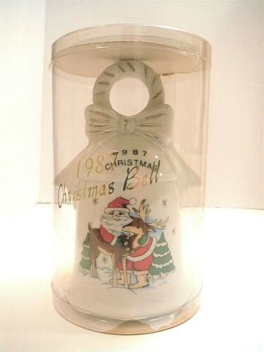 Wal-Mart 1987 Christmas Bell Santa with Reindeer Porcelain Y-5559 Made In Taiwan