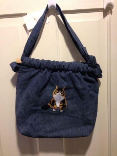 Denim Shoulder Bag with Embroidered Cat