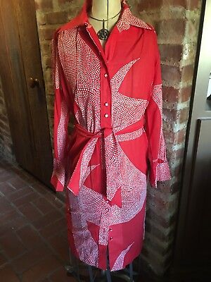 Vintage LANVIN Paris New York Dress Duster Geometric Button Dawn Belt Red Sz 16