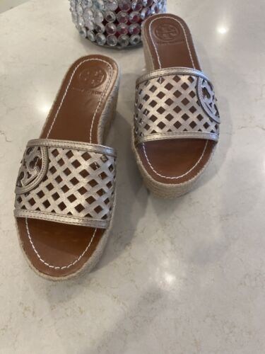 Tory Burch Thatched Perforated Platinum Metallic Leather Wed