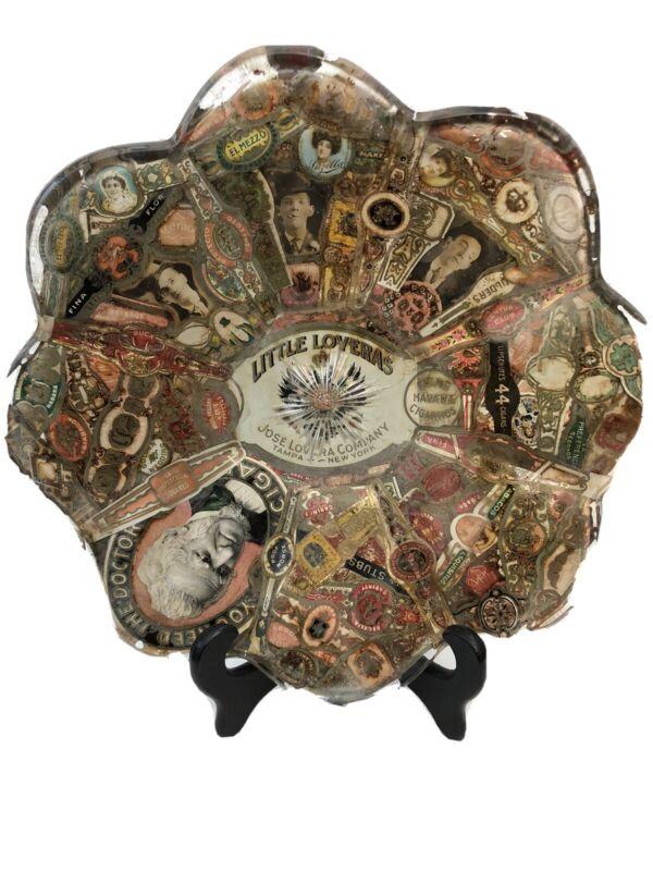 Cigar Band Label Folk Tramp Art Glass Plate Vintage Decoupage OOAK