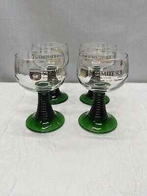 Schmitt Sohne Green Ribbed Stem Cordial German Wine Glasses, 0.1 L, set of 4
