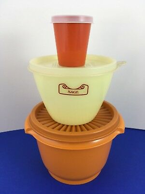 Vintage Retro Tupperware Containers w Lids x3 ~ Burnt & Turmeric Orange & Yellow