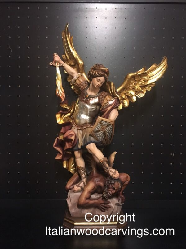 """St Saint Michael Archangel Slaying Gargon Hand Carved Painted Statue 24"""""""