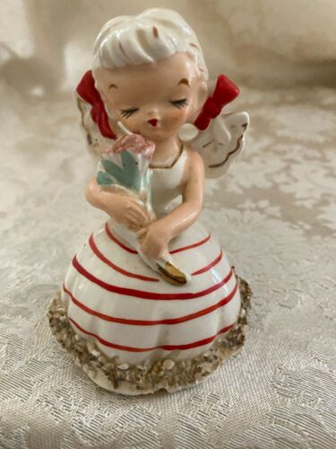 Vintage 1950s Wales Japan Ponytail Birthday Girl Bell Figurine with flowers 31/2