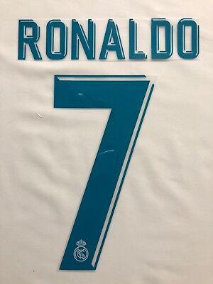 (2017/18 Real Madrid home kit name sets- Ronaldo, Benzema, Marcelo, Bale)