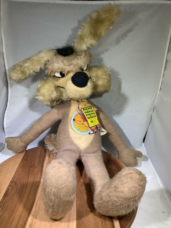 "Vtg Wile E Coyote 25""  Plush Toy Warner Bros. 1971 W/ Tags Mighty Star"