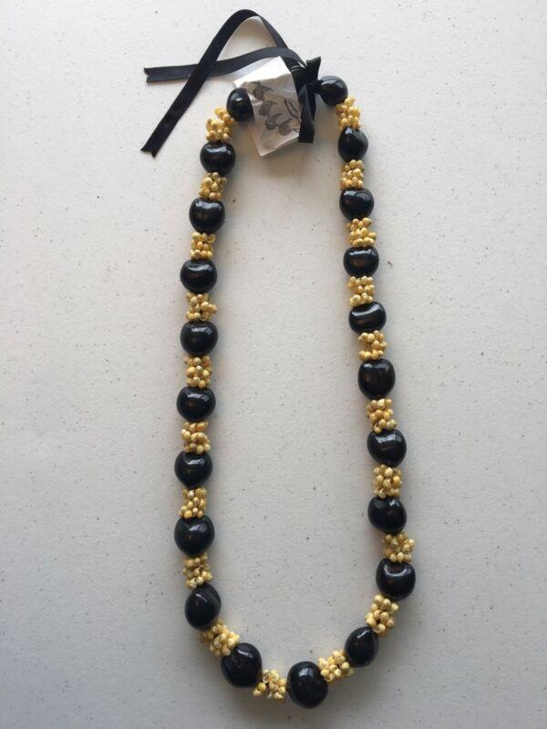 Black Kukui Nut Lei Yellow Mongo Shells Hawaiian Tree Necklace Wedding Gift