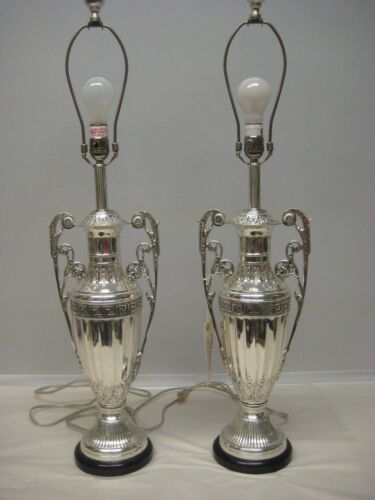 Beautiful Pair of Silver-Plated Table Lamps