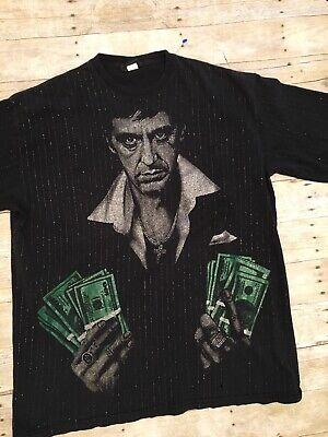 Vintage Scarface Mens Tony Montana Distressed T Shirt 2XL Black Tee Rare Style