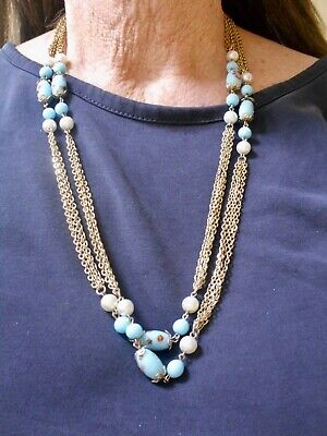 1950s Jewelry Styles and History Authentic Vintage 1950's Gold Tone Double Strand & Art Glass Necklace $14.99 AT vintagedancer.com