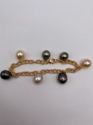Solid 18k Gold Bracelet with Natural Baroque Pearls