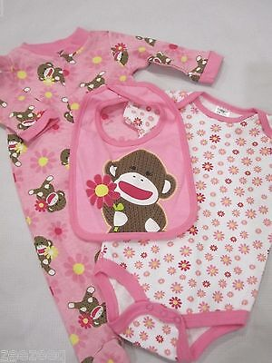 Sock Monkey Mädchen (Baby Starters Pink Sock Monkey Infant Girls Bib One Piece & Sleeper Set 3M 9M)