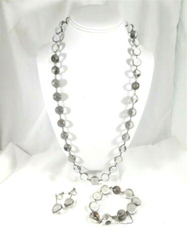 "POOLS OF LIGHT Sterling Repose Floral set 28"" Necklace, Bracelet Earrings 49 orb"