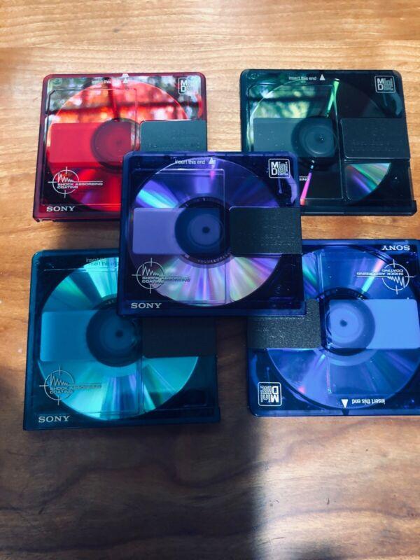 5 Sony Color Collection MiniDiscs 80 minute Minidiscs