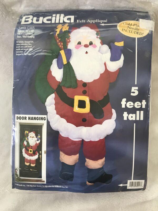 Bucilla Santa Claus 5 Foot Door Wall Hanging Felt Applique Kit #84017 Vtg 1998