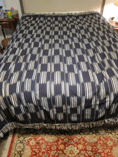 Vintage Baule ikat Indigo Blue Striped Cloth Cote d