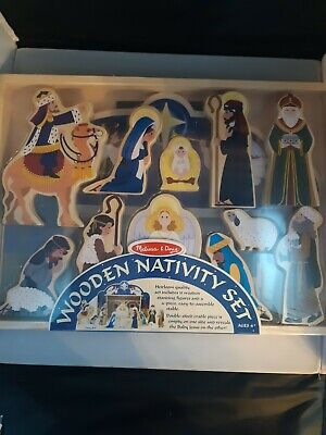 NEW!! Melissa & Doug Wooden Nativity Set 11 Character Pieces Stable Mary Jesus