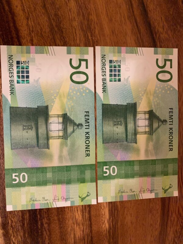 Norway 50 X 2 Total Of 100 Kroner.  Norwegian Banknotes Unc Good Condition.