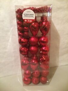 Red 74 piece Christmas ornaments new