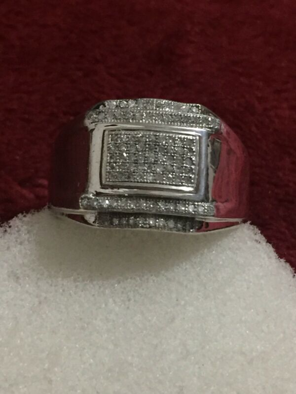 925 Sterling Silver Mens Diamond Ring Scrap Or Wear Size 10