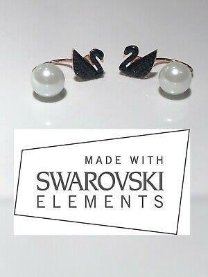 Black Swan pearl Earrings Made W/ Swarovski Crystal Very High Quality Rose Gold Pearl Rose Earrings