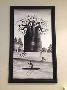 Stretched and Framed Canvas Original Painted African Scene - reduced Edgewater Joondalup Area Preview