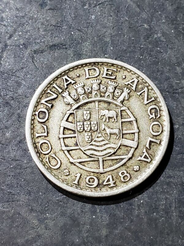 1948 Angola 50 Centavos Coin, Colony of Portugal #0031
