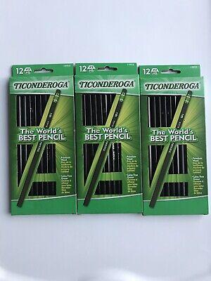 Lot Of 3 Ticonderoga Black 2 School Pencils. 36 Pencils Total.